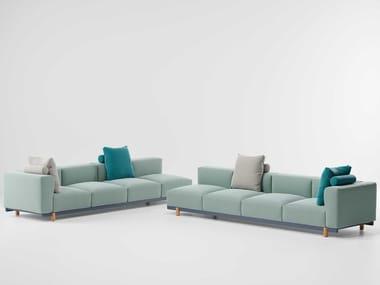 Canapé de jardin 4 places d'angle en tissu MOLO | Canapé de jardin rembourré