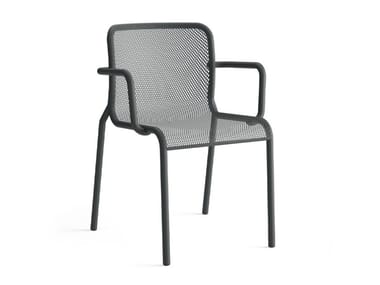 Painted metal chair with armrests MOMO NET 2