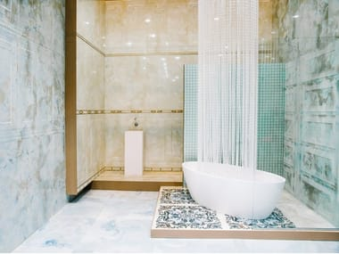 White Paste Wall Tiles With Marble Effect Monaco