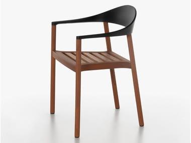Stuhl aus Irokoholz mit Armlehnen MONZA | Stuhl aus Irokoholz