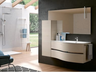 Wall-mounted vanity unit with mirror MOON 01