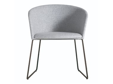 Sled base upholstered fabric chair MOON LIGHT 663PTN