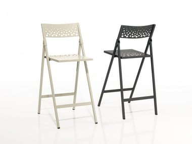 High folding metal stool MOON | Stool