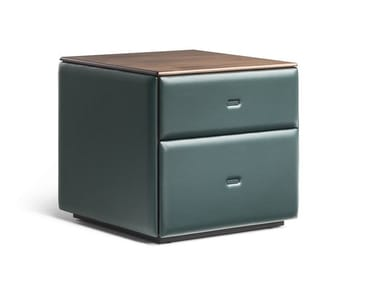 Leather bedside table with drawers MOONDANCE | Bedside table