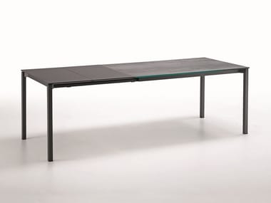 Extending rectangular glass ceramic table MORE