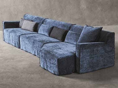 Modular fabric sofa with chaise longue MORE MODULAR SYSTEM