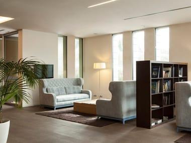 Upholstered high-back fabric sofa bed MORGAN
