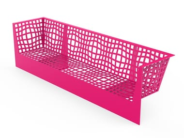 Galvanized steel Bench with armrests with back MORPHSCAPE LOUNGE