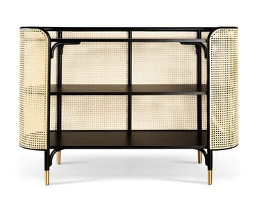 Beech console with woven cane inserts MOS