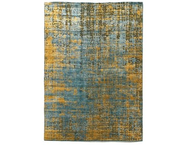 Handmade rectangular bamboo silk and cotton rug MOSS