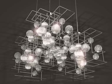 Glass and steel pendant lamp MOULE
