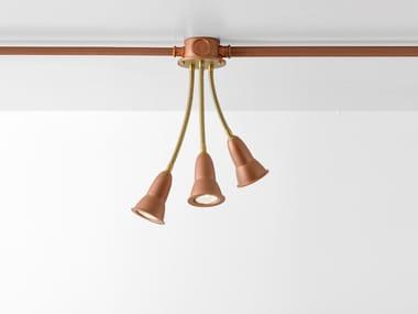 Lampada da soffitto a LED orientabile in rame con braccio flessibile MULTIBOX SISTEMA | Lampada da soffitto
