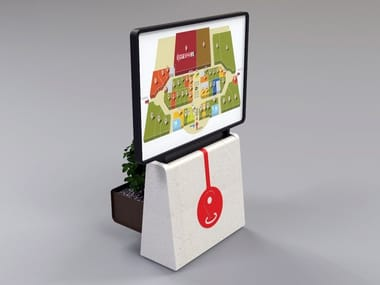Reconstructed stone multimedia display stand CLING | Multimedia display stand