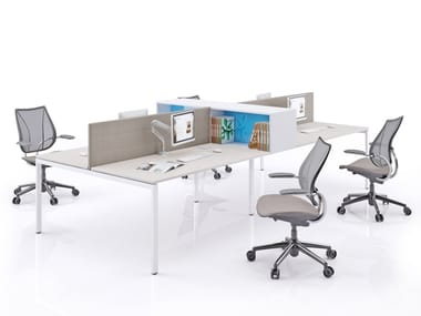 Multiple office workstation with desk screens SLIM | Multiple office workstation