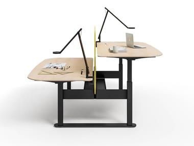 Estación de trabajo ajustable en altura múltiples de madera YOU FIT | Estación de trabajo múltiples
