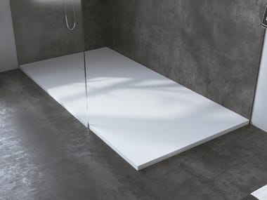 Corner rectangular Corian® shower tray MUNICH