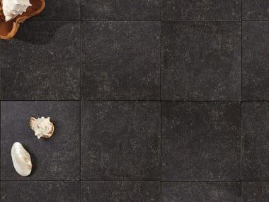 Outdoor floor tiles with stone effect MUSEO PIERRE BLUE NOIR