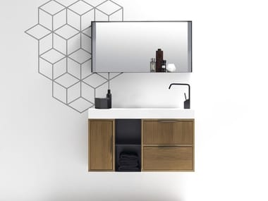 Wall-mounted vanity unit with drawers MUTEVOLE 06