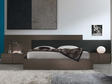 Lacquered double bed with high headboard MYLOVE | Lacquered bed