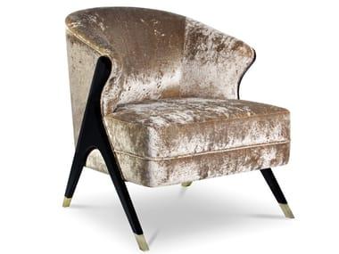 Upholstered velvet easy chair NAOMI