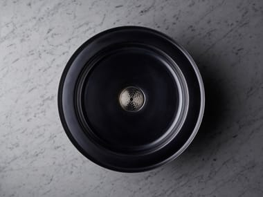 Inset round stainless steel washbasin NARCIS BLACK | Round washbasin