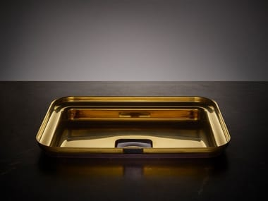 Rectangular single stainless steel washbasin NARCIS BRASS | Rectangular washbasin
