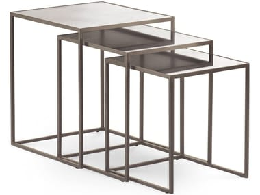 Stackable square mirrored glass coffee table NARCISO | Square coffee table