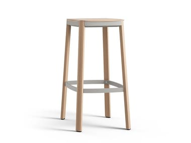 Wooden barstool with footrest NATE | Barstool