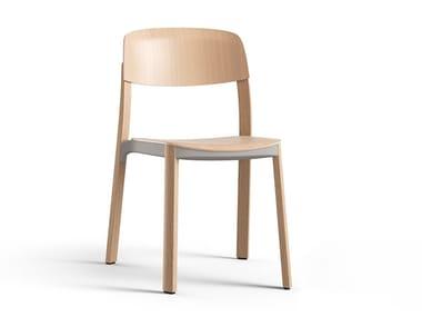 Sedia impilabile in legno NATE | Sedia