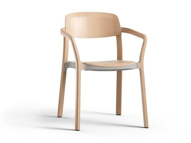 Stackable wooden chair with armrests NATE | Chair with armrests