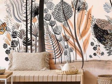 Papel de parede ecológico lavável livre de PVC NATURE AND POETRY