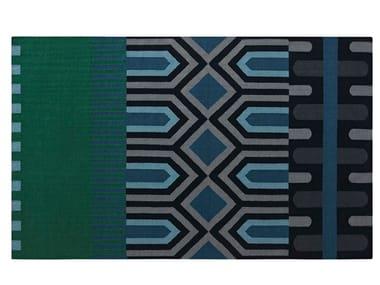 Tappeto rettangolare in lana a motivi geometrici NDEBELE GREEN