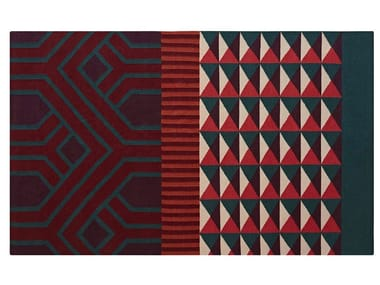 Rectangular wool rug with geometric shapes NDEBELE RED