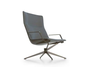 High-back fabric armchair with 4-spoke base NEIL | High-back armchair