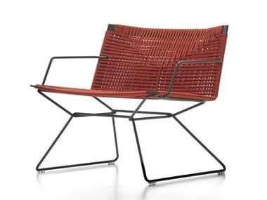 Cadeira lounge trenó em corda para jardim com braços NEIL TWIST | Cadeira lounge com braços