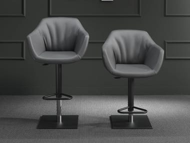 Upholstered leather stool with gas lift NEMO