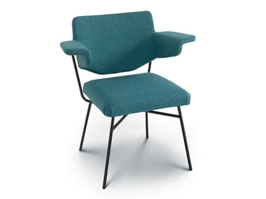 Upholstered fabric chair with armrests NEPTUNIA