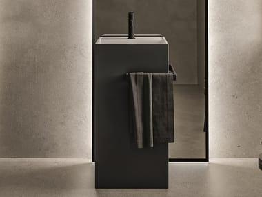 Freestanding rectangular washbasin with towel rail TOTEM
