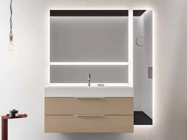 Lacquered wall-mounted vanity unit with mirror NEROLAB | Lacquered vanity unit