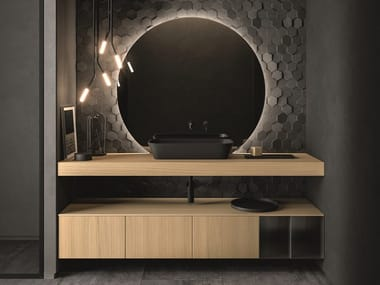 Wall-mounted wood veneer vanity unit with drawers NEROLAB | Wood veneer vanity unit