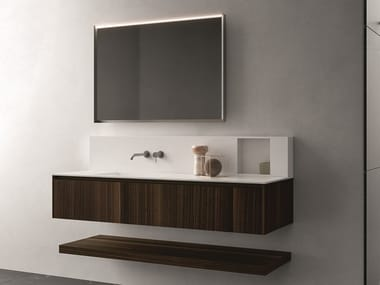 Wall-mounted wood veneer vanity unit with drawers NEROLAB | Vanity unit with drawers