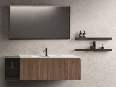 Wall-mounted wood veneer vanity unit with mirror NEROLAB | Vanity unit with mirror