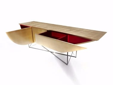 Rectangular gold leaf console table with drawers NESSUN DORMA | Gold leaf console table