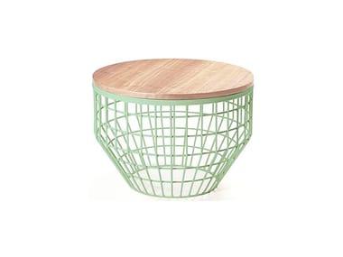 Mesa de centro de café redonda de metal NEW AIR | Mesa de centro de madeira