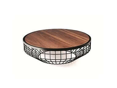 Low round metal coffee table NEW AIR | Wooden coffee table