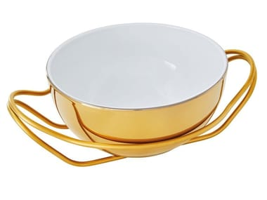 Porcelain and stainless steel spaghetti dish NEW LIVING | Serving plate
