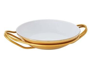 Porcelain and stainless steel rice dish NEW LIVING | Serving plate