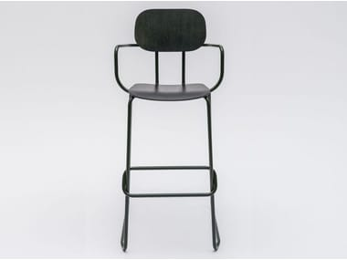 High sled base plywood stool with armrests NEW SCHOOL | Stool with armrests
