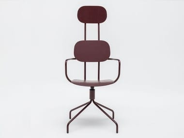 Trestle-based plywood office chair with armrests NEW SCHOOL | Trestle-based office chair