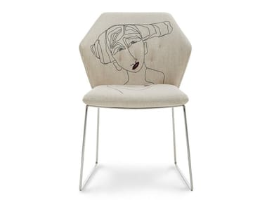 Sled base upholstered fabric chair NEW YORK BY MARRAS | Chair